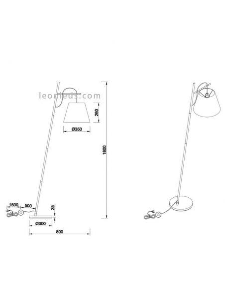Dimensiones de Lámpara de Pie de Salón Blanca y Plata de la marca Mantra | LeonLeds Iluminación