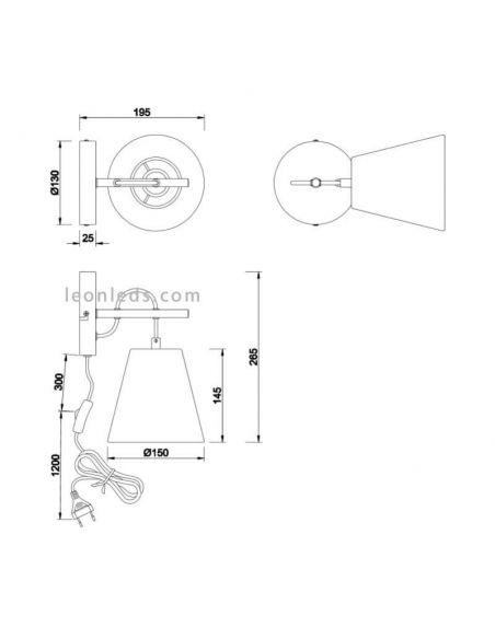 Dimensiones de Aplique de pared serie Andreus blanco y plateado de diseño moderno | LeonLeds Iluminación