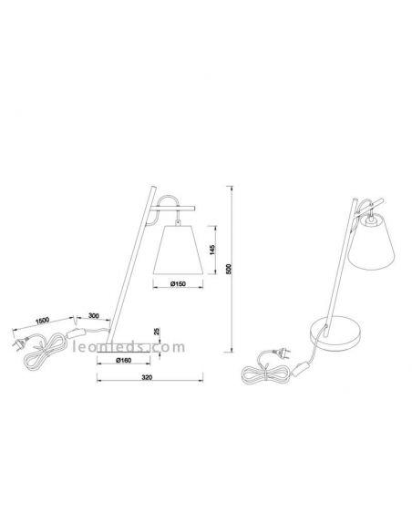 Dimensiones de Lámpara de sobremesa de la serie Andreus de Trio Lighting | LeonLeds Iluminación