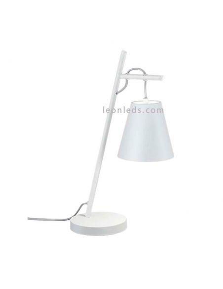 Lámpara de sobremesa moderna Blanca y plateada grande con el cable visible | LeonLeds Iluminación decorativa