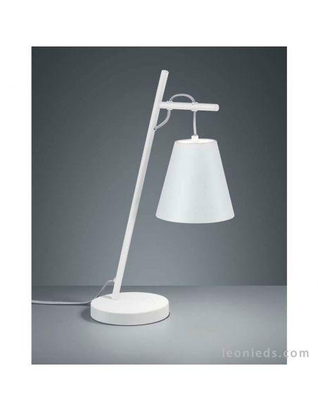 Lámpara de sobremesa andreus blanca y plateada moderna de Trio Lighting | LeonLeds Iluminación