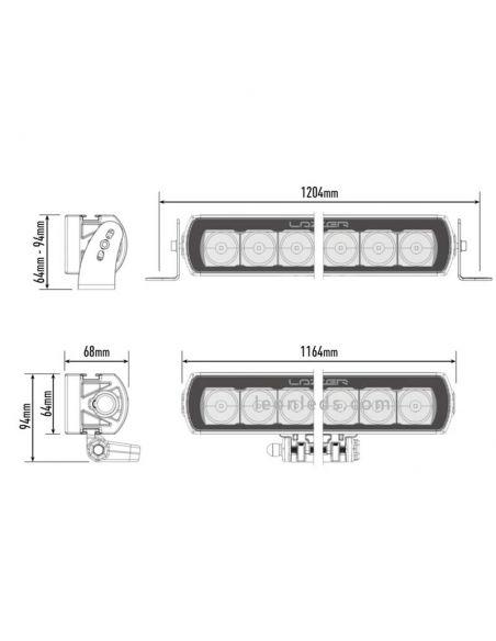 Dimensiones de Barra LED Lazer T28 Evolution | Barra LED 4X4 todoterreno | LeonLeds Iluminación