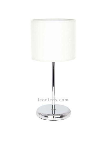 Lámpara de sobremesa Blanca y Cromada de la serie Adriático | LeonLeds Iluminación Decorativa