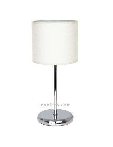 Lámpara de sobremesa moderna Beis y Cromada de la serie Adriático | LeonLeds Iluminación Decorativa