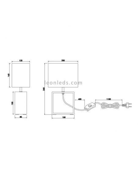 Dimensiones de Lámpara de sobremesa rectangular Tick de madera natural blanca | LeonLeds Iluminación decorativa