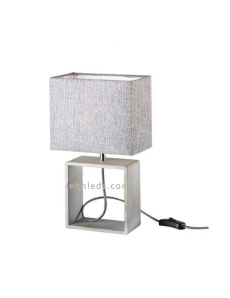 Lámpara de sobremesa rectangular de diseño minimalista de color Gris y madera natural | LeonLeds Iluminación