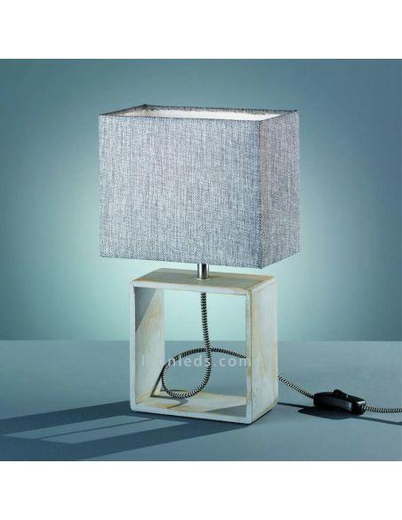 Lámpara de estilo Minimalista de color gris y blana de madera natural de la marca Trio Lighting | LeonLeds Iluminación