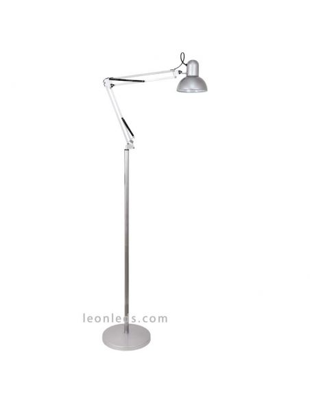 Lámpara de Pie Gris articulable o Flexo de pie Articulable para arquitecto | LeonLeds Iluminación