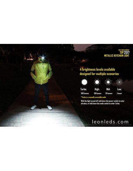 Llavero Linterna LED potente recargable de calidad de la marca Nitecore TIP | LeonLeds Linternas LED de llavero