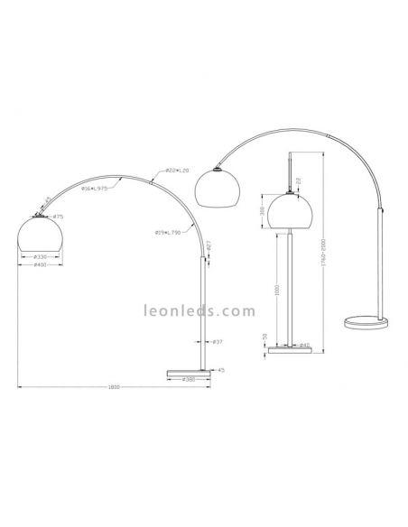 Dimensiones de Lámpara de Pie moderna serie Sola de Trio Lighting | LeonLeds Iluminación