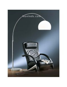 Lámpara de pie de arco grande blanca y cromada regulable en altura | LeonLeds Iluminación decorativa