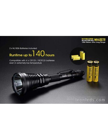 Linterna LED largo alcance 1000 metros Nitecore MH40GTR potente | LeonLeds Linternas LED