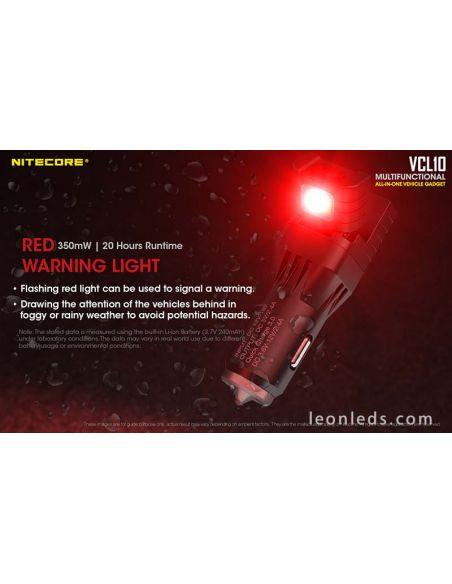Cargador de mechero para coche multifunción con Luz LED roja de seguridad | LeonLeds Iluminación LED