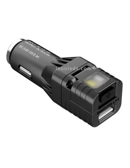 Cargador de mechero para coche USB con Luz LED blanca y roja | LeonLeds Iluminación