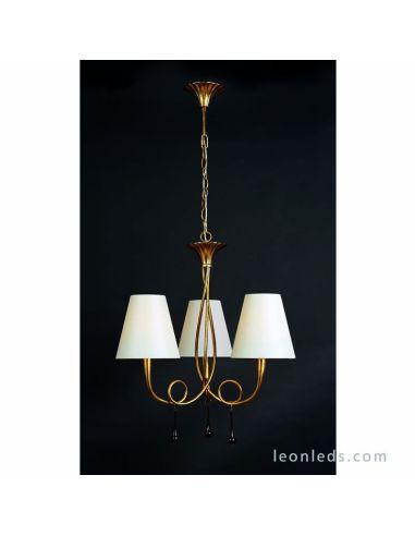 Lámpara de Techo Araña Dorada de estilo clásico regulable en altura de la serie Paola de Mantra | LeonLeds Iluminación