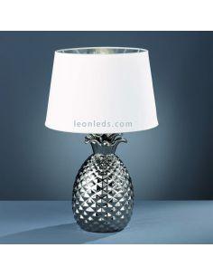 Lámpara de mesa plateada con una pantalla textil de color Blanca | LeonLeds Iluminación decorativa