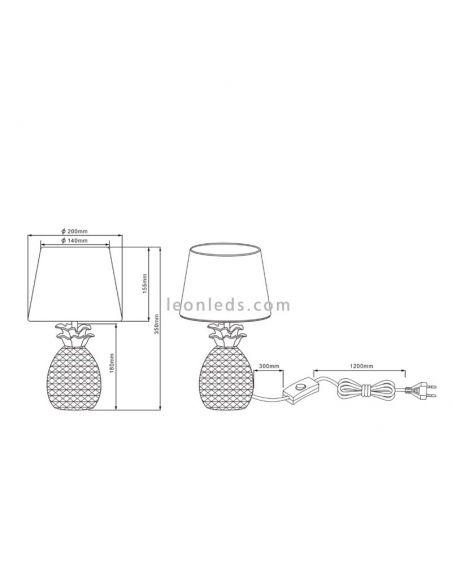 Dimensiones de Lámpara de sobremesa pequeña de la serie Pineapple de estilo moderno y original | LeonLeds Iluminación