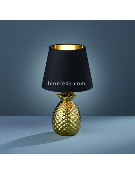 Lámpara de Sobremesa dorada y negra de diseño moderno | LeonLeds Iluminación decorativa