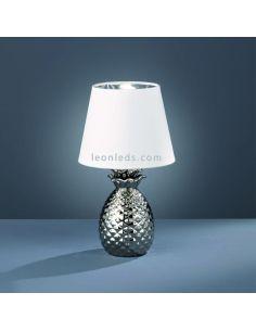 Lámpara de sobremesa gris y blanca de la serie Pineapple  que simula una Piña | LeonLeds Iluminación decorativa
