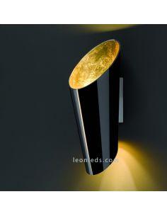 Aplique de pared grande moderno negro y dorado de Trio Lighting Madeira | LeonLeds Iluminación decorativa