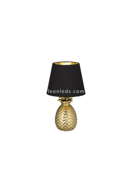 Lámpara de Sobremesa Piña dorada y negra de diseño moderno | LeonLeds Iluminación decorativa