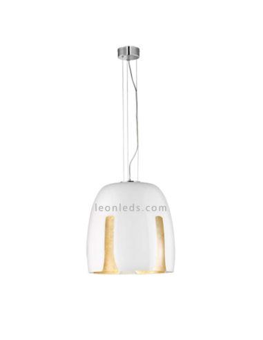 Lámpara de techo moderna blanca y dorada serie Madeira regulable en altura | LeonLeds Iluminación decorativa