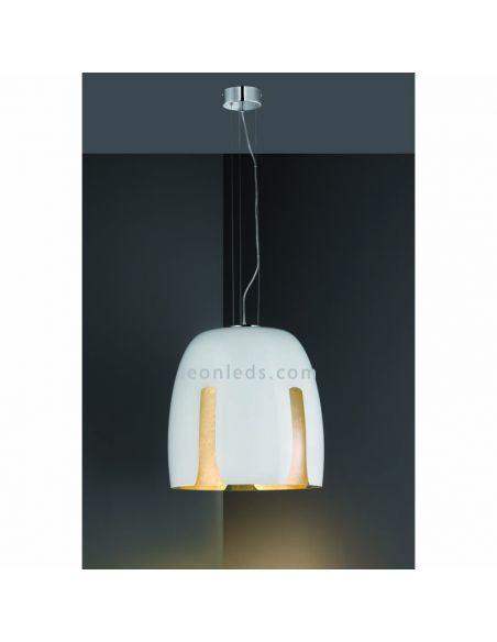 Lámpara de Techo moderna con pantalla de vidrio de color Blanca y Dorada | LeonLeds Iluminación