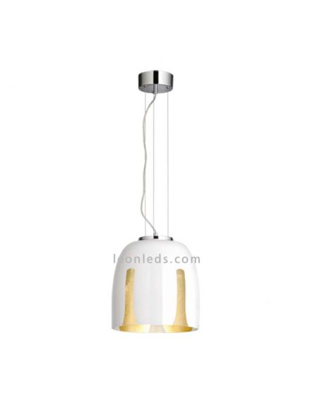Lámpara de Techo moderna Madeira blanca y dorada la pequeña de la serie Trio Lighting   LeonLeds Iluminación