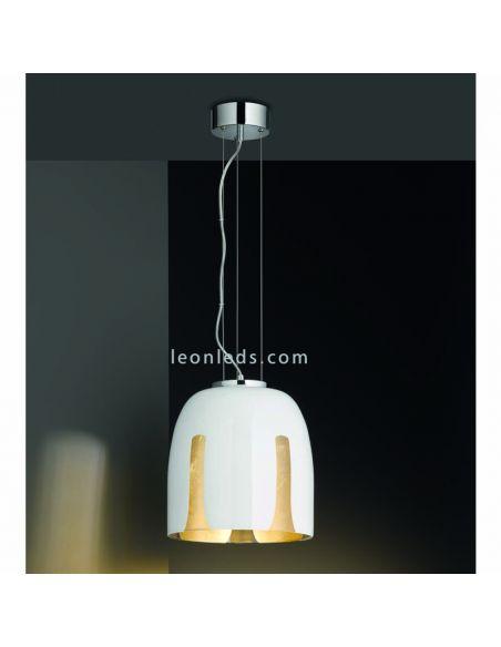 Lámpara de Techo moderna serie Madeira blanca y dorada de la serie Trio Lighting   LeonLeds Iluminación