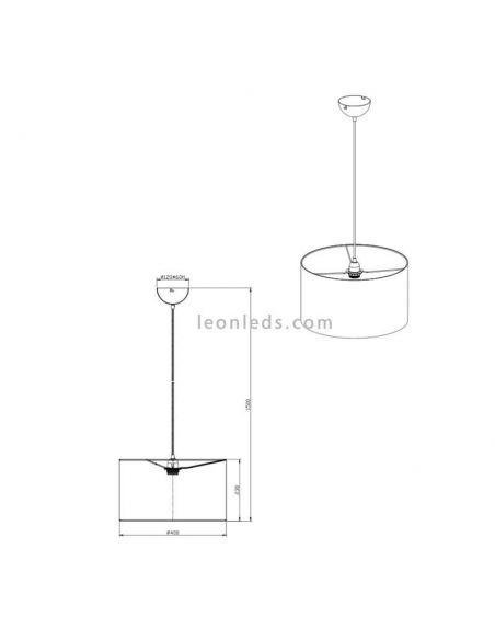 Dimensiones de Lámpara de techo serie Hostel blanca y plateada | Leonleds Iluminación decorativa