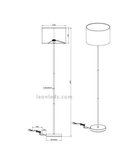Dimensiones de Lámpara de pie Hostel blanca y plateada | LeonLeds Iluminación