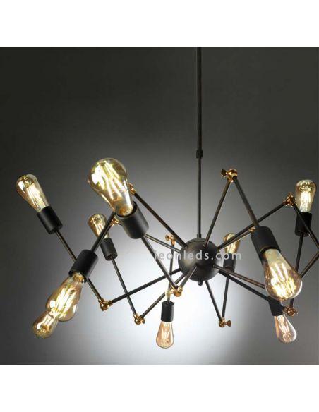 Lámpara de Techo Atomic de araña con 12 brazos orientables de diseño vintage | LeonLeds Iluminación