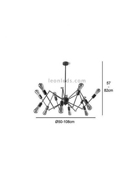 Dimensiones de Lámpara de techo araña 12 brazos serie Atomic | LeonLeds Iluminación decorativa