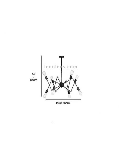 Dimensiones de Lámpara de Techo araña con 8 brazos serie Atomic de estilo Vintage | LeonLeds Iluminación