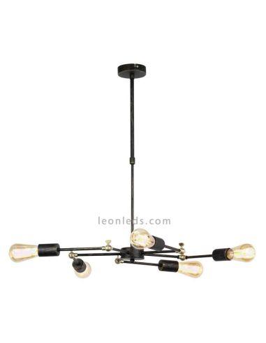 Lámpara de techo araña 5 brazos orientables de diseño Vintage serie Atomic | LeonLeds Iluminación