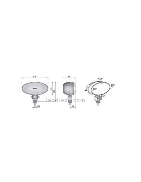 Dimensiones Faro LED de trabajo Ovalado potente Wesem para Jonh Deere o Massey Ferguson | LeonLeds