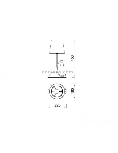 Dimensiones Lámpara de sobremesa cromada | Lámpara de Sobremesa Andrea | LeonLeds Iluminación