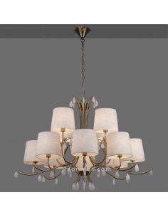 Lámpara de Techo Araña de estilo Clásica de color Cuero serie Andrea de Mantra   LeonLeds Iluminación decorativa