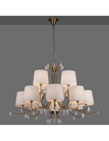 Lámpara de Techo Araña de estilo Clásica de color Cuero serie Andrea de Mantra | LeonLeds Iluminación decorativa