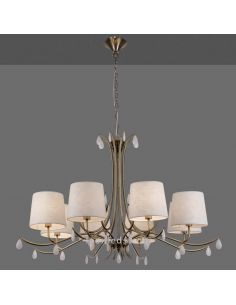 Lámpara de techo Clásica Cuero Satinado Araña serie Andrea de Mantra 6332 | LeonLeds Iluminación decorativa