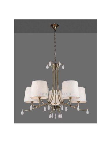 Lámpara de Techo Clásica Cuero Satinado serie Andrea de Mantra 6334  LeonLeds Iluminación decirativa