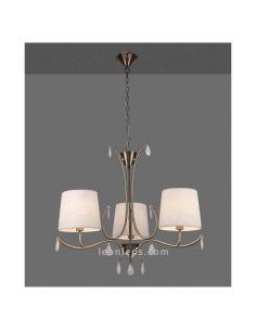 Lámpara de techo serie Andrea Cuero Satinado clásica con 3 brazos | LeonLeds Iluminación decorativa