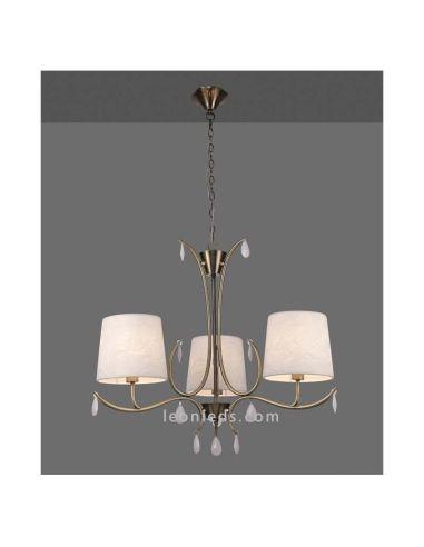 Lámpara de Techo Araña Cuero Satinado Andrea 3XE14 Mantra