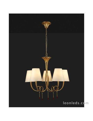 Lámpara de Techo Araña Paola Dorada Clásica con 5 pantalla textiles Crema | LeonLeds Iluminación