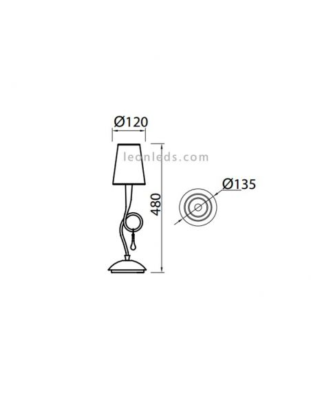 Dimensiones de Lámpara de sobremesa Clásica Dorada serie Paola de Mantra | LeonLeds Iluminación