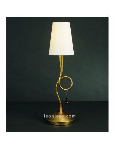 Lámpara de Sobremesa Dorada Clásica grande serie Paola 3545 | LeonLeds Iluminación