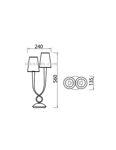Dimensiones de Lámpara de Sobremesa Plateada Grande serie Paola 3536 de Mantra |  LeonLeds Iluminación