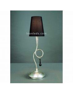 Lámpara de Sobremesa Plateada y Negra de estilo Clasico serie Paola | LeonLeds iluminación