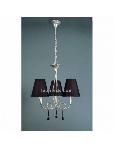 Lámpara de techo Clásica Plateada y Negra de la serie Paola de Mantra 3532   LeonLeds Iluminación