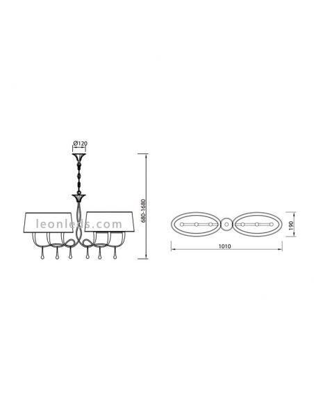 Dimensiones de Lámpara de techo Paola dorada para instalar en el techo encima de una mesa | LeonLeds Iluminación